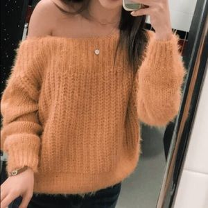 Off the shoulder mustard sweater